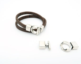 6MM Flat leather Clasp, Silver  Hook for 6mm flat leather bracelets D-1-5
