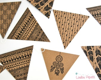 Indian arrow Garland and Dreamcatcher - Boho Style - Kraft paper flags recycled