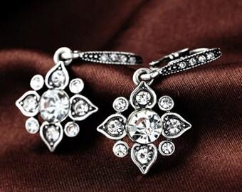 Silver Star Dangle Earrings