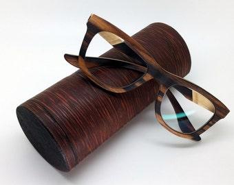 Hard Leather-Wooden Eyeglasses Case