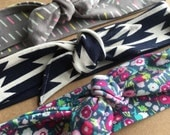 Set of 3 knot headbands top knot adjustable black navy and multi color aztec print