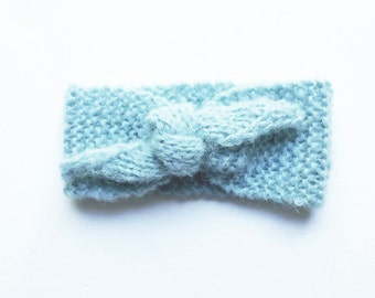 Light-blue baby headband - newborn earwarmer - cozy baby headband  - babyshower gift - 0 - 3 month - baby knitting photo props