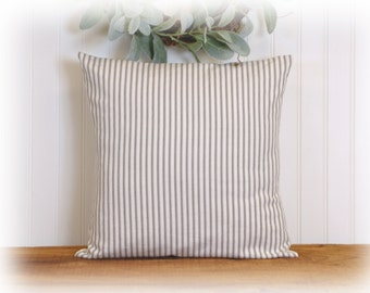 Gray Ticking Stripe, Accent Pillow