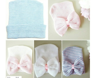 Newborn hospital hat, baby girl hat, newborn baby, newborn girl hat, hospital hat, newborn hat, baby shower gift, baby bow hat,