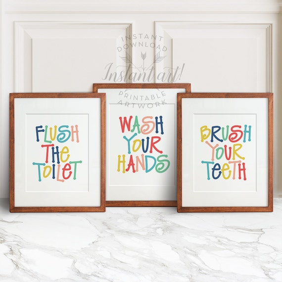 Kids Bathroom Art 3 Printables Flush The By Thecrownprints