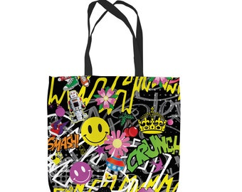 Acid Graffiti Design  Tote Bag Shopping Bag Beach Bag School Bag