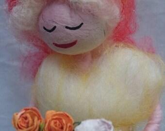 Hand made Wool Felt Fairy.  Apricot Peony