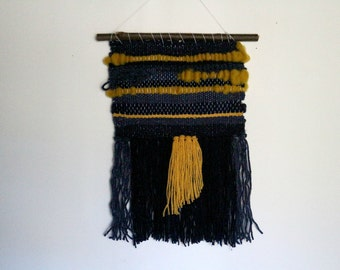 Weaving wall Marthe yellow mustard and Navy Blue