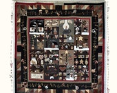Deseos del edredón de MJJenekPAPER patrón, patrón de tejido, patrón de la colcha de Navidad, Navidad invierno primitivo edredón patrón primitivo de invierno