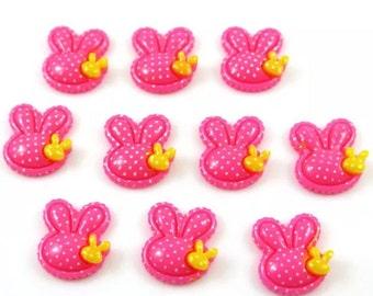 Pink rabbit flatback Easter 5pcs