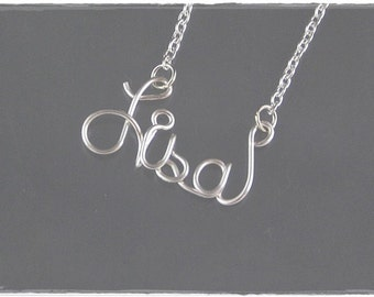 Lisa Wire Name Pendant Necklace