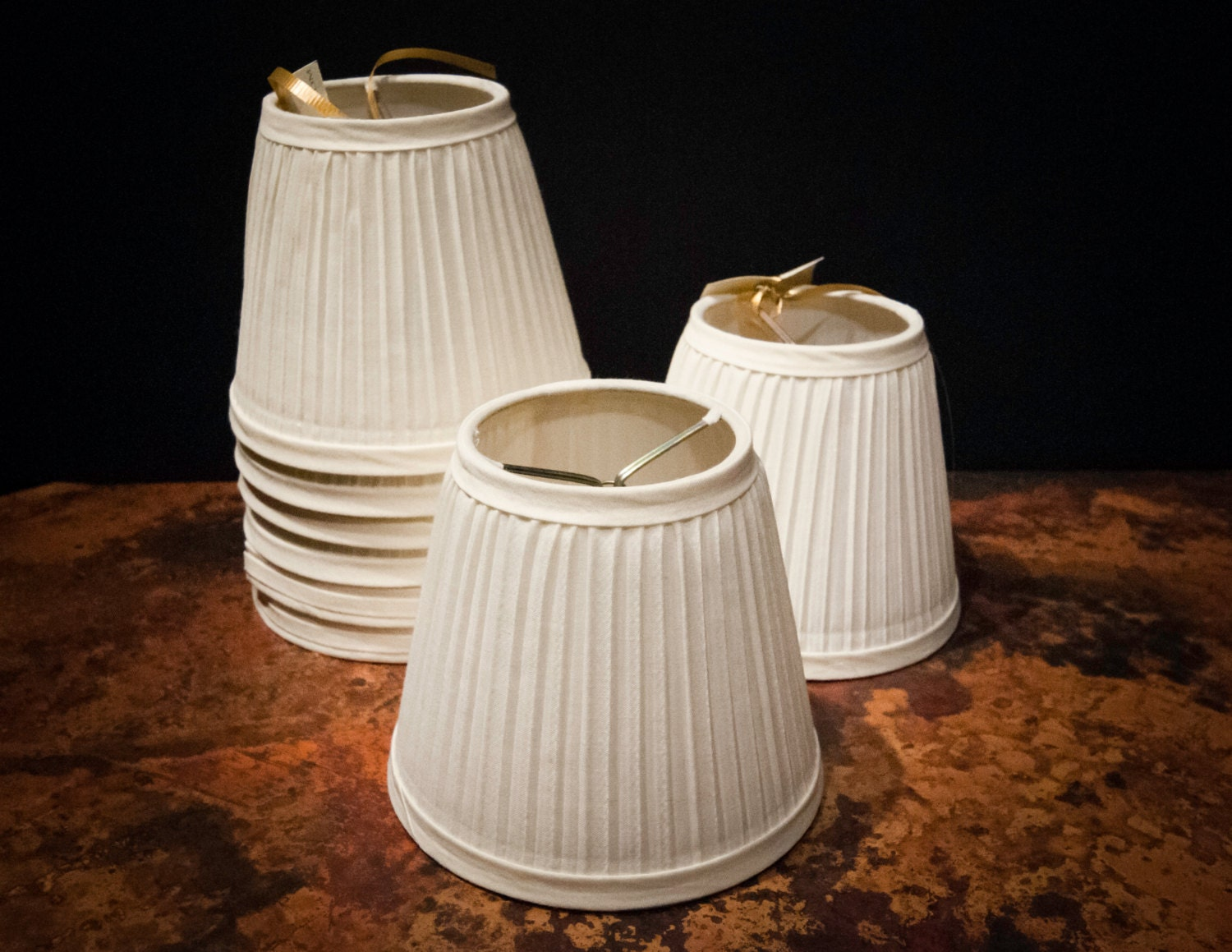 shirred ivory fabric small vintage lamp shades. Black Bedroom Furniture Sets. Home Design Ideas