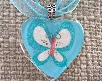 Heart Shape Glass Tile Pendant