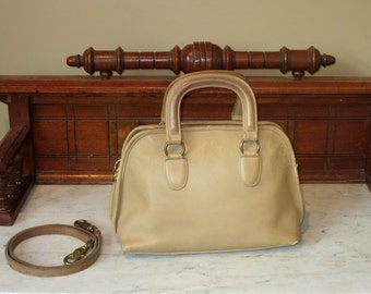 Coach Baxter Bag Saddle (Stone?) Leather Satchel Duffel With Optional Crossbody Strap- Very Nice- VGC- Made In U.S.A.