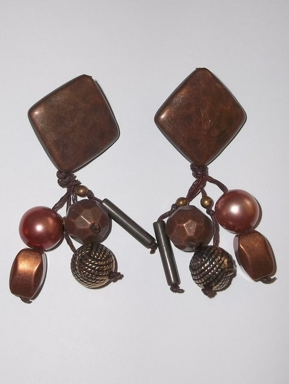 Vintage Beaten Bronze and Copper Look Bohemian Tribal Style Earrings