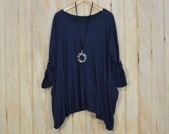 New Ladies COTTON Oversized Floaty Top Tunic Quirky Lagenlook Loose Quality New Plus Size UK 18 - 28/US 16 - 26 Navy Blue (A1)