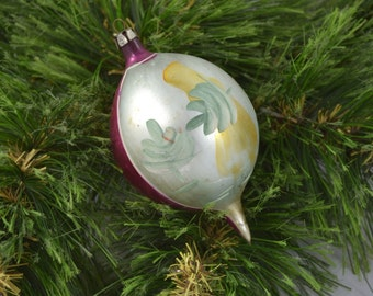 Glass Hand Blown Hand Painted Teardrop Shaped Christmas Ornament Made In Poland
