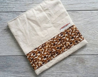 Coffee Print -- Snack / Sandwich / Quart / Gallon Size Reusable Bag -- Natural Canvas -- Made to Order