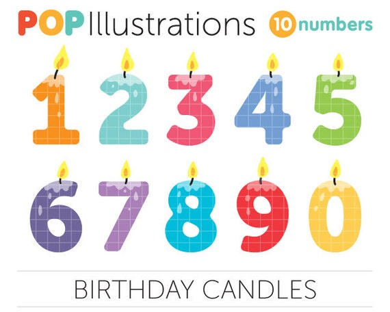 Number Candles Clip-Art Commercial Use by POPIllustrations