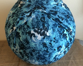 Birth Ball Cover with Handle, Exercise/Yoga Ball Cover, Birthing Ball Cover, Ball Cover - BLUE FLORAL
