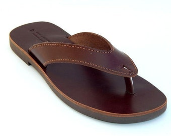 men's leather sandals (46 - Black)