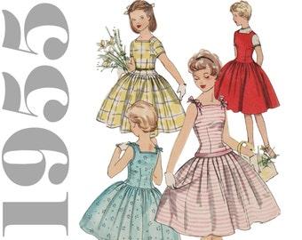 1950s Girls Dress Pattern Girls Sundress Pattern SIMPLICITY 1145 Girls Size 7 Vintage Girl Dress Girls Party Dress Pattern Drop Waist Dress