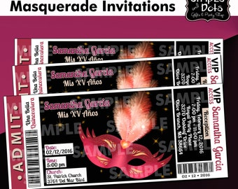 XV Años Invitations-Sweet 16 Ticket Invitation-Ticket Invitations-Sweet 16-Birthday Party-Masquerade Invitations-Masquerade Party-Masquerade