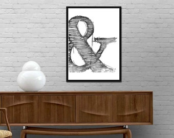 Ampersand Symbol Print And Watercolor Sign Modern Graphic Design Poster Inspirational wall art decor Best price canvas art