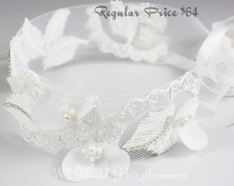 Flower Headband for Wedding, with Lace