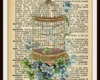 "Vintage Art Print Birdcage on  Ephemera Dictionary Page ,  Print Wall Decor, 8.5 x 11""  Unframed Printed Art Image"