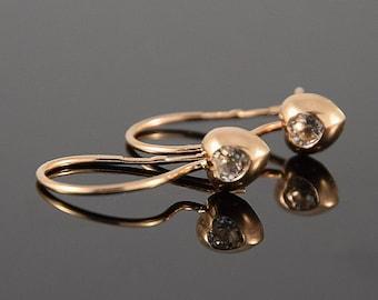 Tiny earrings, Small earrings, Gold earrings, Women earrings, Pretty earrings, Elegant earrings, Delicate earrings, Rose gold earrings