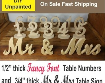 1-20 DIY Fancy Font Wood Table numbers And Mr and Mrs Sign combo