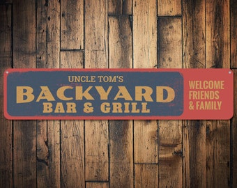 Backyard Bar & Grill Sign, Personalized Welcome Friends Family Sign, Custom Bar Name Sign, Metal Beer Sign - Quality Aluminum ENS1001374