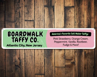 Taffy Sign, Personalized Boardwalk Salt Water Taffy Company Sign, Custom Beach Location Sign, Beach House Sign - Quality Aluminum ENS1001203