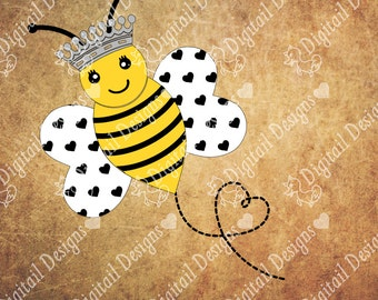 Kawaii Queen Bee SVG - png - dxf - ai - eps - fcm - Cut File - Bee SVG - Bee Cut File - Silhouette - Cricut - Printable - Queen Bee Cut File