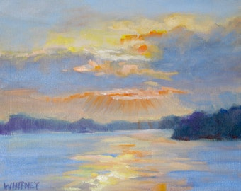 Small Oil Painting, Small Painting, Landscape, Sunset Painting, Plein Air Oil, 8 x 10 Original Oil Painting on Canvas Art Oil ArtSue Whitney