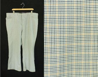60%OFF July22-24 mens hounsdtooth pants / size 44x30 / 60s plaid / 1960s trousers / wide leg / mad men / 44 waist 30 inseam / gray gold