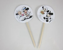 Mickey and Minnie Mouse Wedding, Round Double sided cupcake picks  Wedding cupcake picks