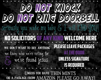 Funny No Soliciting Sign Don't Wake Baby