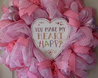 Pink and White Love Mesh Wreath; Heart Wreath; Valentine Wreath; Valentine Decor; Heart Decor; Girl's Room Decor; Pink Decor; Nursery Decor