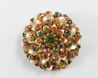 Vintage Gold Tone Multicolor Rhinestone Flower Brooch Pin