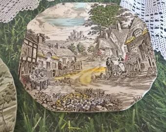 English Village pattern polychrome transferware snack plate