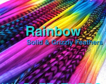 XL 4pc Rainbow Solid & Grizzly Feathers + 1pc FREE Natural Grizzly Personal Feather Pack w/Free Info Pack