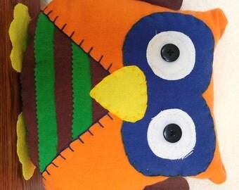 Striped Owl Plushie: Orange, Blue, Brown & Green