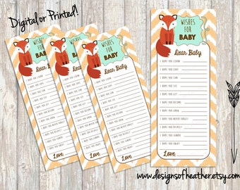 Little Fox Baby Shower Wishes for Baby DIGITAL
