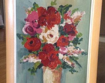 Vintage Framed Oil Painting- Floral Roses Still Life