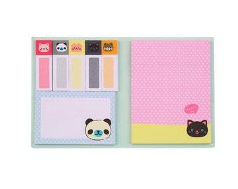 4 designs Kawaii Animals Sticky Notes Memo Pad Set