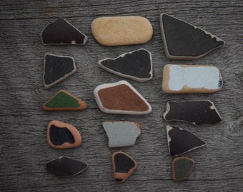 Beach Pottery Sea Pottery Beach finds 15 pieces brown