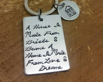 Hand stamped home keyring New Home House Warming Gift New Home new start