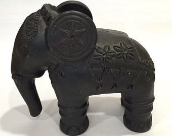 Substantial Black Pottery Elephant Bank with Beautiful Surface Details